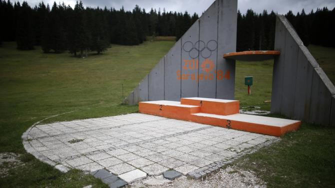 A view of the derelict medals podium at the disused ski jump from the Sarajevo 1984 Winter Olympics on Mount Igman, near Sarajevo