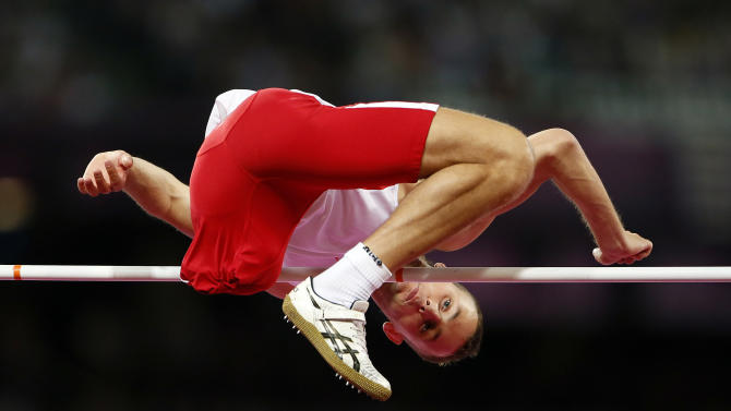 Poland's Mamczarz competes in the men's High Jump Final F42 during the London 2012 Paralympic Games at the Olympic Stadium in London