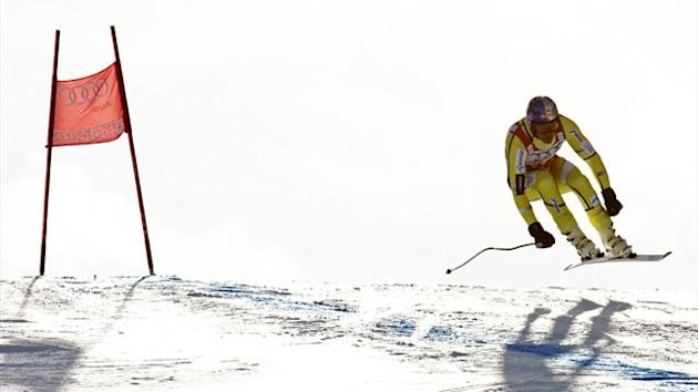 Aksel Lund Svindal of Norway skis during training for the FIS Alpine World Cup Men's downhill race (AFP)
