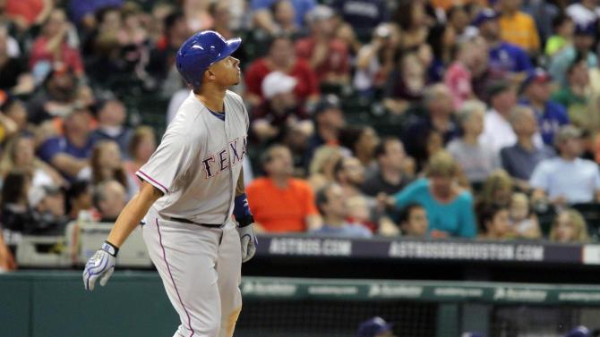 Choice and Odor HRs lead Rangers over Astros 13-6