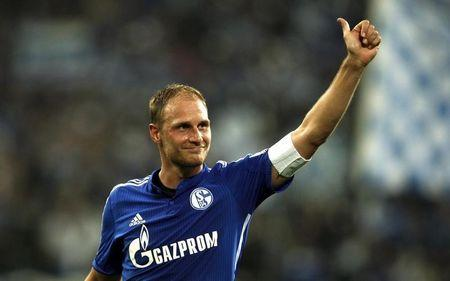 Schalke 04's Benedikt Hoewedes reacts after their German first division Bundesliga soccer match against Bayern Munich in Gelsenkirchen
