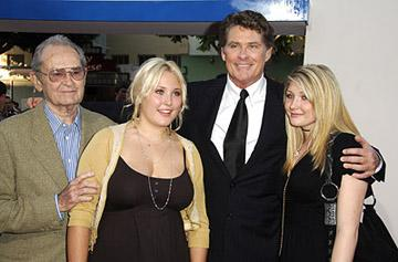 David Hasselhoff with his father and his daughters at the LA premiere of Columbia's Click
