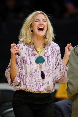 Drew Barrymore at the NBA Playoffs between the LA Lakers and Denver Nuggest on May 19, 2009 -- Getty Images