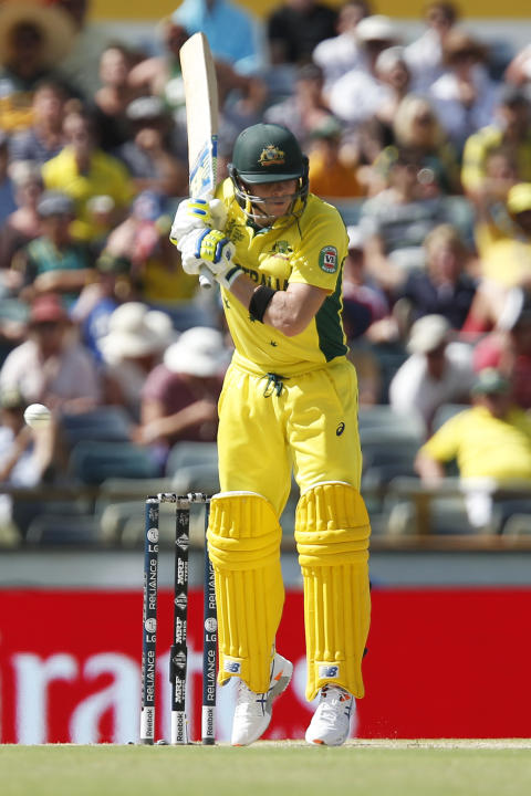 Australia's Steve Smith bats during their Cricket World Cup Pool A match against Afghanistan in Perth, Australia, Wednesday, March 4, 2015. (AP Photo Theron Kirkman)