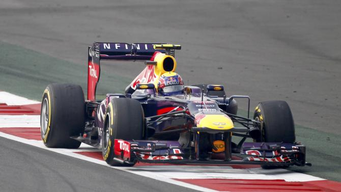 Red Bull Formula One driver Webber drives during the qualifying session of the Indian F1 Grand Prix at the Buddh International Circuit in Greater Noida