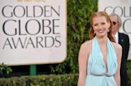 Actress Jessica Chastain arrives at the 70th Annual Golden Globe Awards at the Beverly Hilton Hotel on Sunday Jan. 13, 2013, in Beverly Hills, Calif. (Photo by John Shearer/Invision/AP)