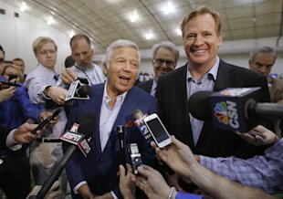 Roger Goodell (R) and Patriots owner Robert Kraft may not be so buddy-buddy right now. (AP)