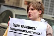 Anastasiya Rybachenko takes part in an opposition rally in Moscow last year. Rybachenko's university expelled her after a police visit and she has enrolled in a university in Tallinn