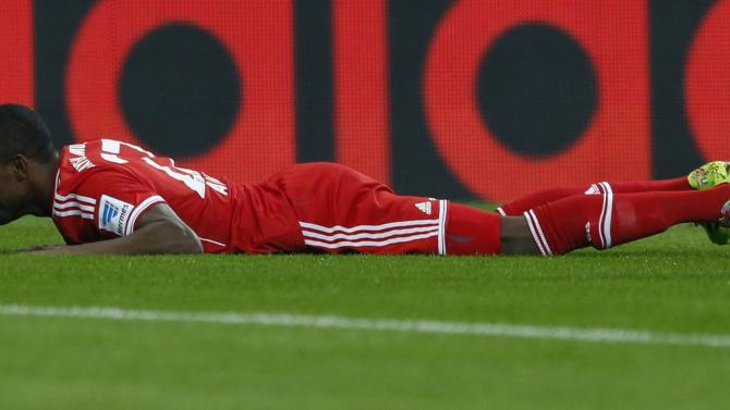Bayern Munich's Alaba celebrates goal during German Bundesliga first division soccer match against Schalke 04 in Munich