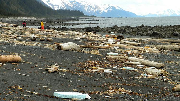 In this June 6, 2012 photo provided by Chris Pallister, debris is strewn across the shore of Montague Island near Seward, Alaska. More than a year after a tsunami devastated Japan, killing thousands of people and washing millions of tons of debris into the Pacific Ocean, neither the U.S. government nor some West Coast states have a clear plan for how to clean up the rubble that floats to American shores. (AP Photo/Chris Pallister)