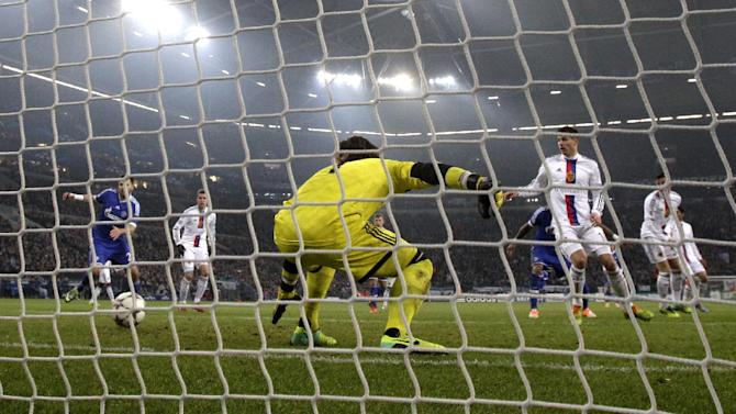 Schalke's Julian Draxler (not in the picture) scores his side's opening goal during the Champions League group E soccer match between FC Schalke 04 and FC Basel in Gelsenkirchen, Germany, Wednesday, Dec.11,2013