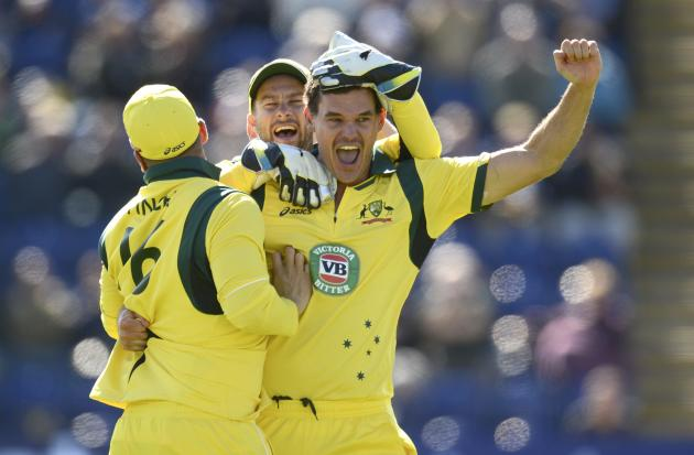 Australia's McKay celebrates after achieving a hat-trick after dismissing England's Root during the fourth one-day international at Sophia gardens in Cardiff, Wales