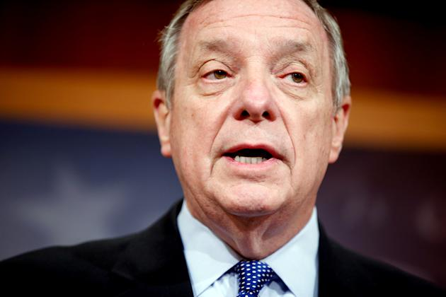 In this March 25, 2015, photo, Senate Minority Whip Richard Durbin of Ill., speaks during a news conference on Capitol Hill in Washington, to discuss the budget. The Senate is up after House Republica