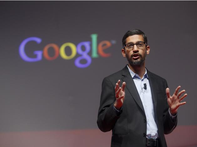 Sundar Pichai, Google's senior  vice president of products,  speaks during a presentation at the Mobile World Congress in Barcelona