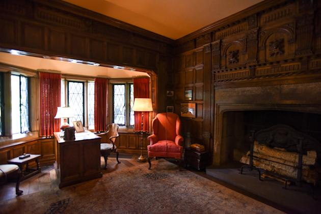 Edsel Ford's study at the Edsel and Eleanor Ford House in Grosse Pointe Shores, seen in a July 7, 2015 photo, has a hidden panel that opens up to his personal photo darkroom. The paneling is belie