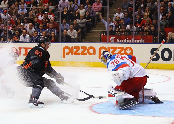 TORONTO, ON - SEPTEMBER 19: Sergei Bobrovsky #72 of Team Russia makes the second period stop on Connor McDavid #97 of Team North America during the World Cup of Hockey tournament at the Air Canada Centre on September 19, 2016 in Toronto, Canada. (Photo by Bruce Bennett/Getty Images)