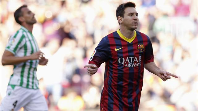Liga - Messi scores two as Barcelona beat Betis