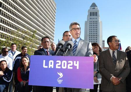 Casey Wasserman, chair of the LA2024 candidature committee speaks at a news conference to annouce the city's final approval to bid for the 2024 Olympic Games, in Los Angeles