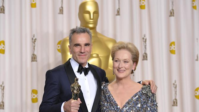 FILE - This Feb. 24, 2013 file photo shows Daniel Day Lewis and Meryl Streep in the press room at the Oscars at the Dolby Theatre in Los Angeles. The Academy of Motion Picture Arts and Sciences announced Monday, March 25, 2013, that next year's Oscar ceremony will be held on March 2, 2014. The 2015 trophies will be handed out Feb. 22. (Photo by John Shearer/Invision/AP, file)