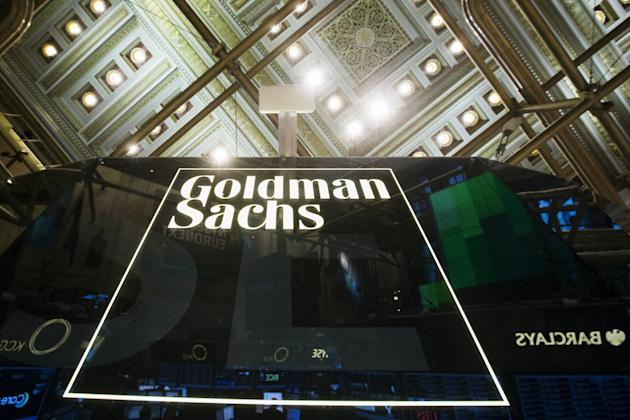 Flle photo of Goldman Sachs sign above floor of the New York Stock Exchange in the Manhattan borough of New York