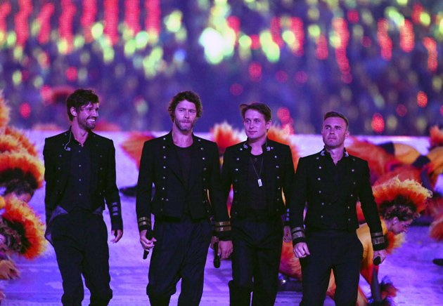 Gary Barlow with Take That at the Olympics Closing Ceremony.