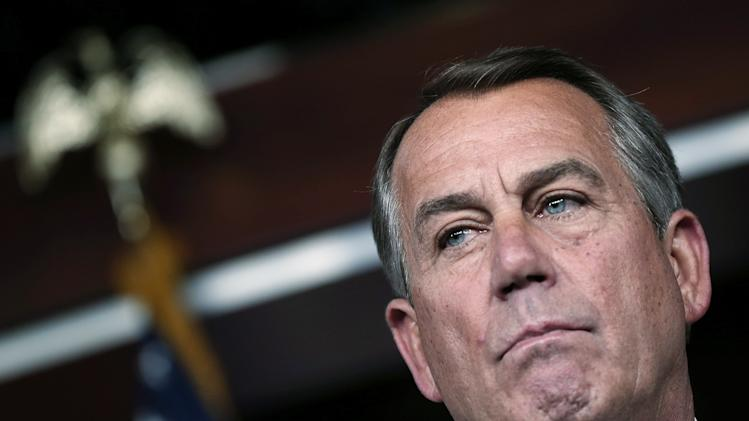 John Boehner Holds Briefing On Capitol Hill