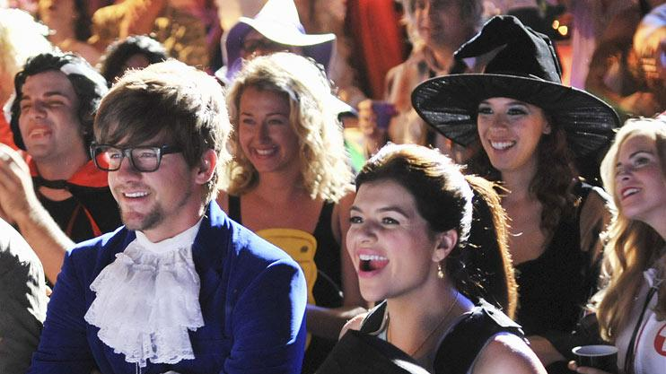 "Zachary Knighton as Dave, Casey Wilson as Penny, and Adam Pally as Max in the Halloween episode ""Spooky Endings"" of ""Happy Endings."""