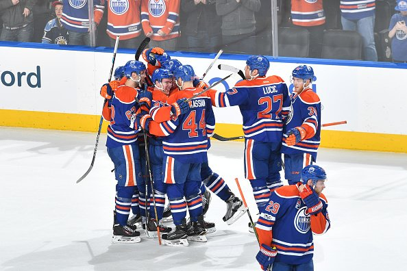 EDMONTON, AB - JANUARY 18: Players of the Edmonton Oilers celebrate after winning the game against the Florida Panthers on January 18, 2017 at Rogers Place in Edmonton, Alberta, Canada. (Photo by Andy Devlin/NHLI via Getty Images)