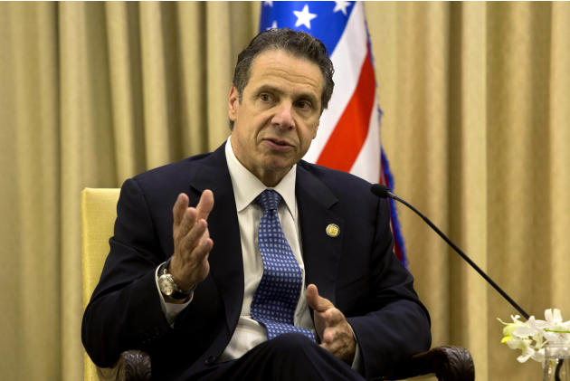 FILE - In this Aug. 13, 2014 file photo, New York Gov. Andrew Cuomo speaks during his meeting with Israel's President Reuven Rivlin, at the President's residence in Jerusalem. Cuomo, who visit
