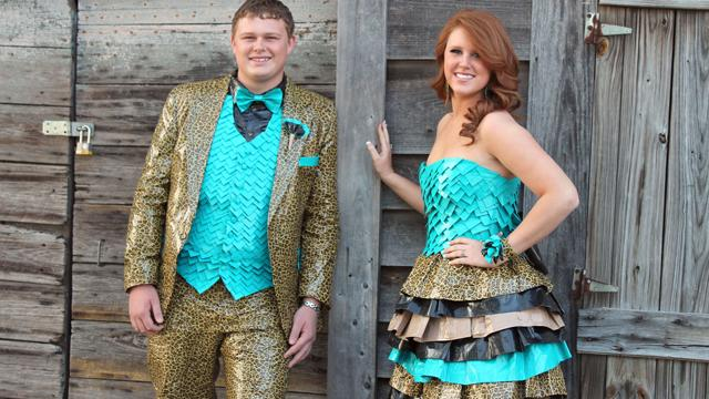 Couple Wears Duct Tape Outfits to Prom