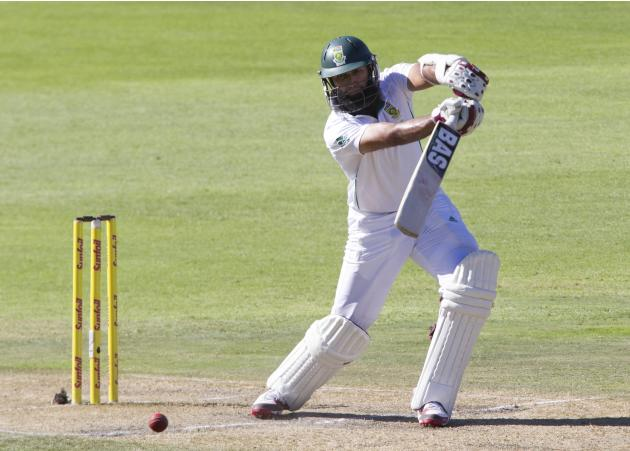South Africa's Amla plays a shot during the third day of the second cricket test match against Australia in Port Elizabeth