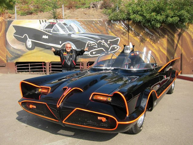 Iconic: Customiser George Barris poses with the soon-to-be auctioned Batmobile (SWNS)