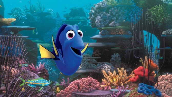 """This film image released by Disney Pixar shows the character Dory, voiced by Ellen DeGeneres. The character, first introduced in """"Finding Nemo,"""" returns for the sequel, """"Finding Dory,""""  set for release on Nov. 25, 2015. (AP Photo/Disney Pixar)"""