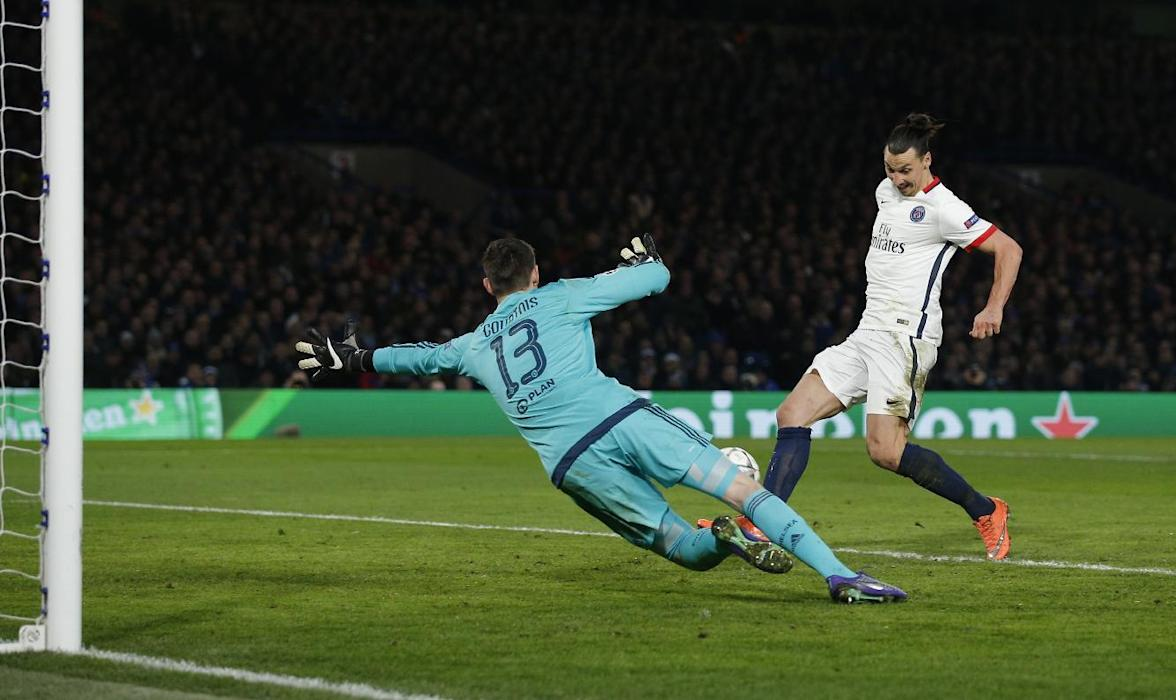 PSG's Zlatan Ibrahimovic scores their second goal