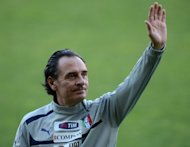 Italy's national football team coach, Cesare Prandelli, pictured during a training session on May 28, at the Ennio Tardini stadium in Parma. An earthquake in the Emilia Romagna region forced Tuesday's friendly against Luxembourg in Parma to be called off