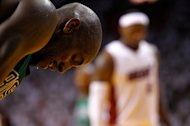 MIAMI, FL - MAY 30: Kevin Garnett #5 of the Boston Celtics hangs his head as he awaits a free throw attempt by LeBron James #6 of the Miami Heat in the second half of Game Two of the Eastern Conference Finals in the 2012 NBA Playoffs on May 30, 2012 at American Airlines Arena in Miami, Florida. NOTE TO USER: User expressly acknowledges and agrees that, by downloading and or using this photograph, User is consenting to the terms and conditions of the Getty Images License Agreement. (Photo by Mike Ehrmann/Getty Images)