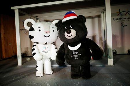 "The mascots for the 2018 Pyeongchang Winter Olympics ""Soohorang"" and ""Bandabi"" are seen during their launching ceremony in Pyeongchang"