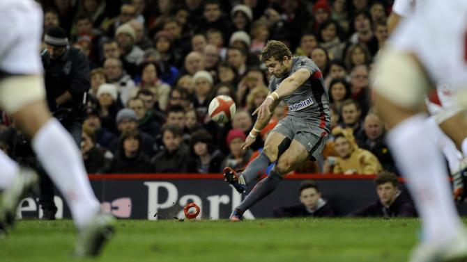 Wales' Leigh Halfpenny scores a try conversion against Tonga during their international rugby union match at the Millennium Stadium in Cardiff