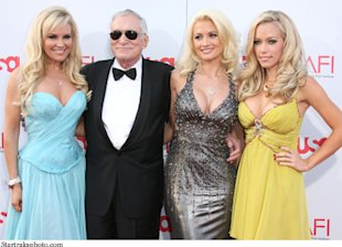 Hugh Hefner with Bridget, Holly, and Kendra