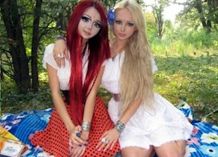 'Flower fairy' with 'Barbie doll' Valerie Lukyanova.