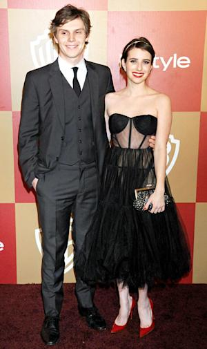 Emma Roberts and Evan Peters Walk First Red Carpet as a Couple at Golden Globes Party