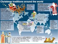 A world map showing different seasonal tradtions