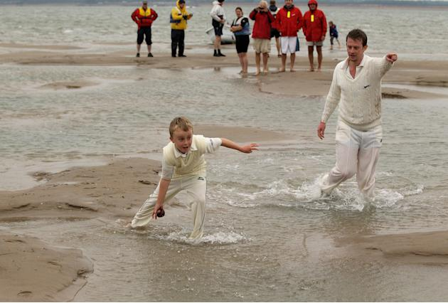Annual Cricket Match Is Played On The Brambles Sandbank In The Solent