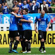 Novara players during a Serie A match on April 25. Novara, who visit Fiorentina on Wednesday, need to win their final three matches and hope Lecce and Genoa fail to pick up more than a point from theirs to manage an unlikely escape from the drop