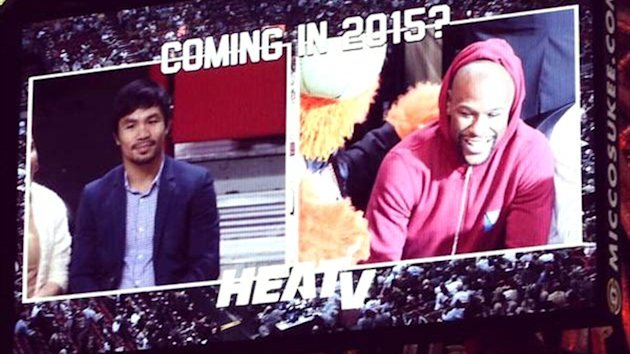 Manny Pacquiao and Floyd Mayweather at a Miami Heat game (Twitter)