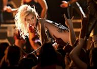 """Lady Gaga performs """"Moth Into Flame"""" at the 59th annual Grammy Awards on Sunday, Feb. 12, 2017, in Los Angeles. (Photo by Matt Sayles/Invision/AP)"""