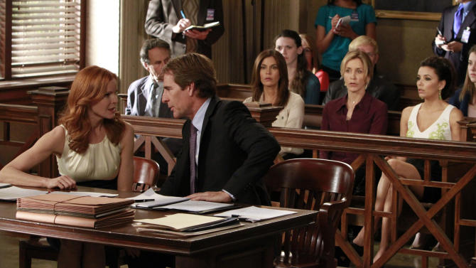 """In this publicity image released by ABC, Marcia Cross, left, and Scott Bakula are shown with, from right, Eva Longoria, Felicity Huffman and Teri Hatcher in a scene from the series finale of """"Desperate Housewives,"""" that was shown Sunday, May 13, 2012 at 9:00p.m. EST on ABC. (AP Photo/ABC, Ron Tom)"""