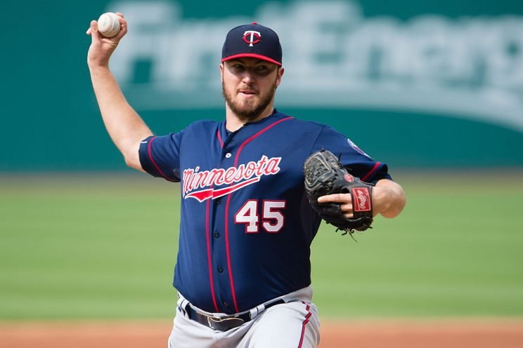 CLEVELAND, OH - MAY 9: Phil Hughes #45 of the Minnesota Twins pitches during the first inning against the Cleveland Indians at Progressive Field on May 9, 2015 in Cleveland, Ohio. (Photo by Jason Miller/Getty Images)