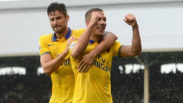 Premier League - Podolski double fires Arsenal to first league win of season