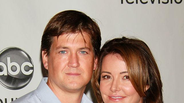 """""""Cougar Town's"""" Bill Lawrence and Christa Miller arrive at the Disney/ABC Television 2010 TCA Summer Press Tour on August 1, 2010 in Beverly Hills, California."""
